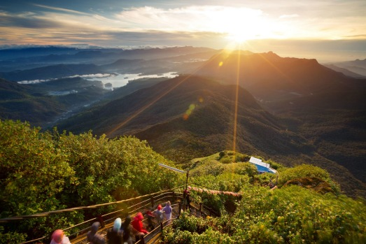 Adams Peak Valley view with villages and mountains at sunrise. View from Adam's peak, Sri ...