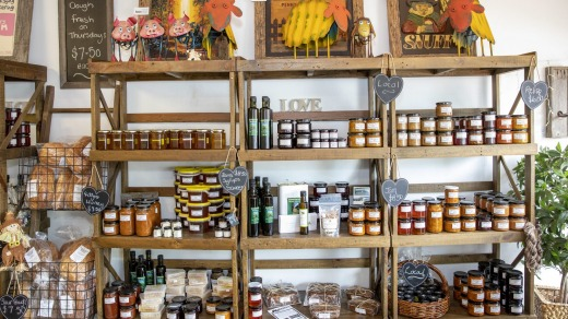 Local food products available for sale at The Long Arm Farm Cafe and Produce in Oberon.