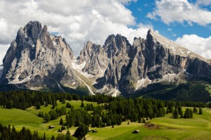 Alpe di Siusi - which at about 1800 metres is Europe's largest high plateau - looking across to two rocky peaks, Sasso ...