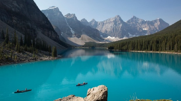 Experience some of the world's most remarkable landscapes, like Moraine Lake in the Canadian Rockies.