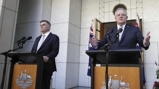 Chief Medical Officer Professor Brendan Murphy and Prime Minister Scott Morrison address the media in Canberra.