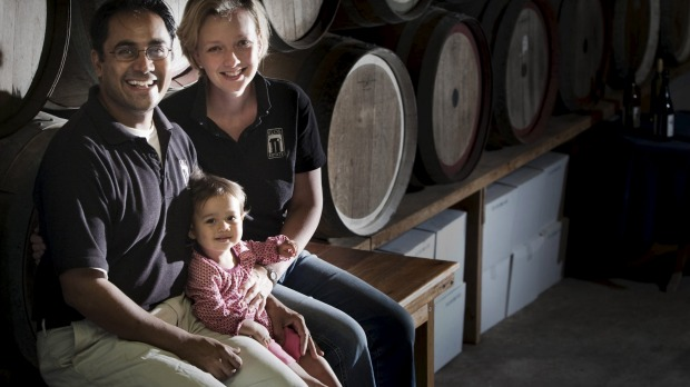 Silos Estate's Rajarshi Ray with his wife Sophie and daughter Zoe.