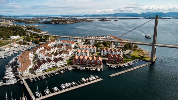 Stavanger City Bridge and Grasholmen Island.