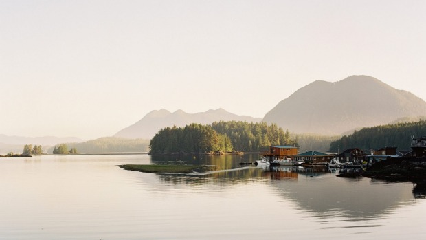 Beautiful Tofino Harbour showcases the island's charm.