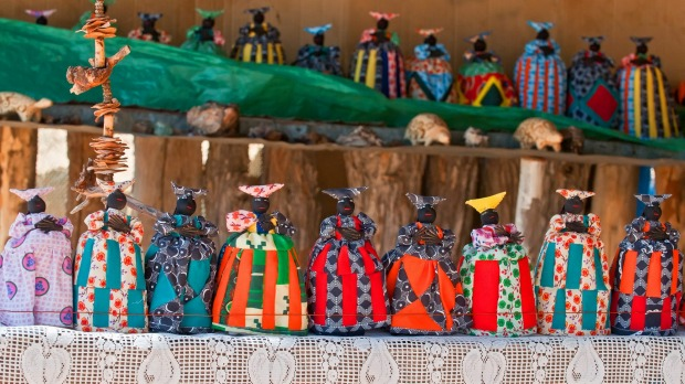 Herero dolls souvenir for sale on a stall in Windhoek, Namibia.