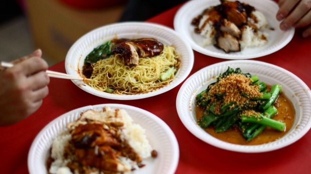 Dishes of chicken rice and noodle from Hawker Chan.