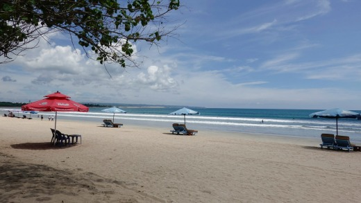 A nearly empty beach in Kuta, Bali.