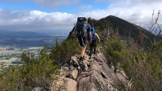 Hiking the Cathedral Range in Victoria often means walking atop a narrow sliver of sandstone on the ridge.