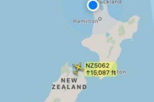 The single, empty, Air New Zealand plane over the country this morning.