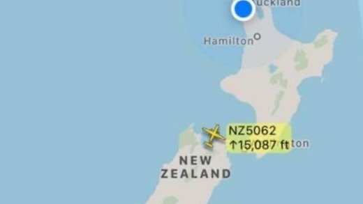 The single, empty, Air New Zealand plane over the country.