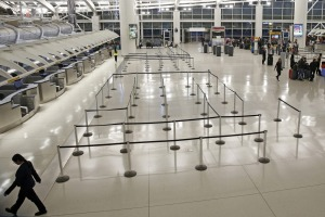 Airports around the world are mostly deserted.