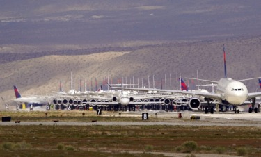 Delta Airlines aircraft are stored at Southern California Logistics Airport in Victorville.