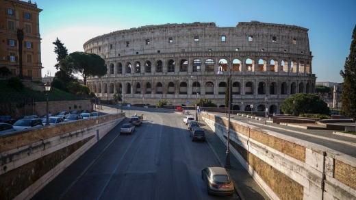 Empty streets leading to one of Rome's biggest tourist attractions.