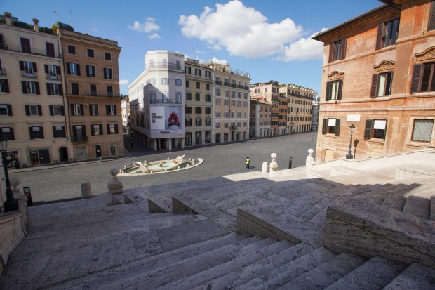 The Spanish Steps in Rome have been emptied of tourists and locals.