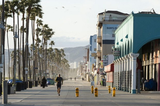 Venice Beach's famous boardwalk in Los Angeles is closed.