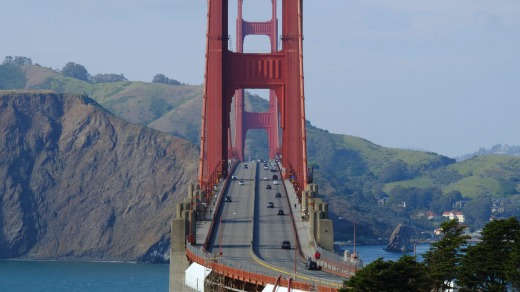 The Golden Gate Bridge in San Francisco, California looking towards Marin County is usually full of traffic.