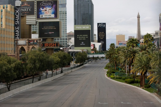 The Strip in Las Vegas is emptied of traffic.