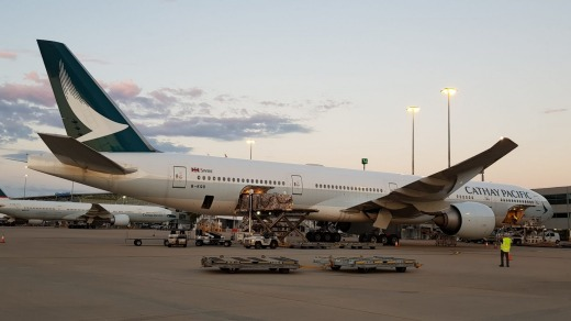 Five Cathay Pacific planes arrived in Brisbane on Saturday carrying medical supplies.