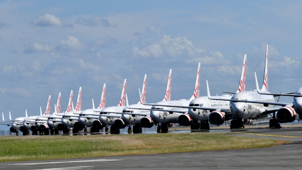 Grounded Virgin planes parked at Brisbane Airport.