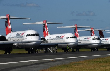Qantas aircraft parked at Brisbane Airport. Data from Ascend by Cirium puts the number of parked aircraft around the ...