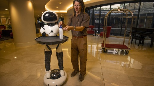 The robots will deliver hand sanitiser to guests.