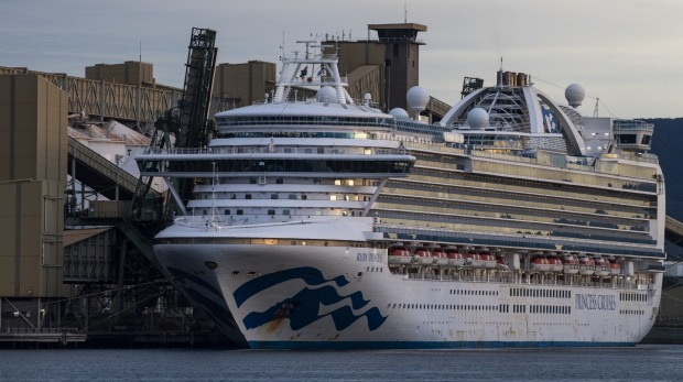 The Ruby Princess docked in Port Kembla on Thursday.