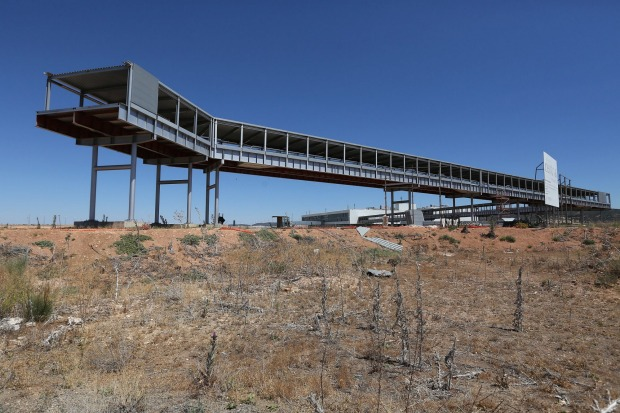 A partially complete walkway which was due to link Cuidad Real International Airport in Spain with an adjacent train ...
