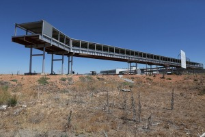 CIUDAD REAL, SPAIN - JULY 06:  A partially complete walkway which was due to link Cuidad Real International Airport with ...
