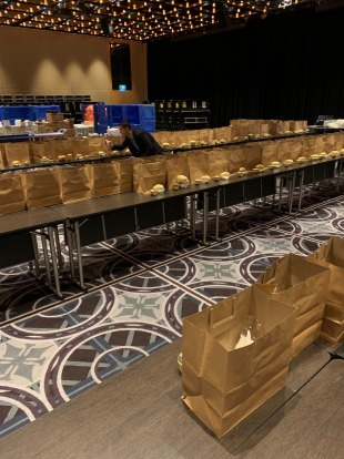 The Sofitel Wentworth's ballroom, normally reserved for events and functions, is being used as a space to coordinate the ...