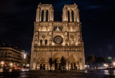 Notre Dame Paris before the fires of 2019. COVID-19 coronavirus has seen stabilisation work  suspended on the historic ...