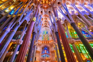 The interior of the main chapel of the Sagrada Familia which began construction in 1882.