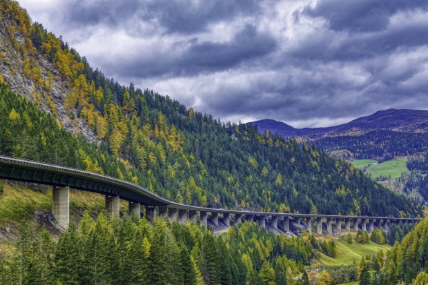 The mountains at Brenner Pass. The Brenner Base Tunnel will link North and South Tyrol from near Innsbruck in Austria to ...