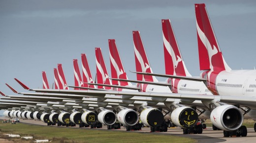 Grounded Qantas and Jetstar planes at Avalon Airport.