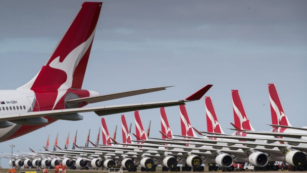 Qantas and Jetstar planes grounded at Avalon Airport.