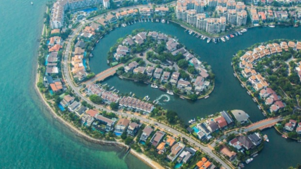 Sentosa Cove, an upscale residential area on an island off Singapore's south coast.