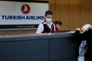 Turkish Airlines personnel at Dulles Airport, Washington.