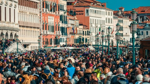 Crowds of tourists near San Marco Square, Venice.