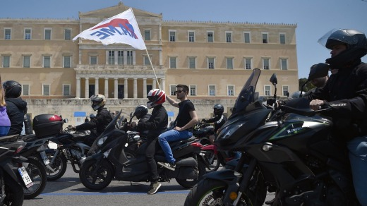 Tourism and delivery workers take part in a motorbike protest for International Memorial Day in front of the Greek ...