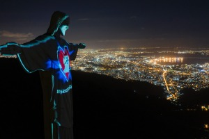 Rio's Christ the Redeemer statue is lit up as if wearing a protective mask amid the new coronavirus pandemic.