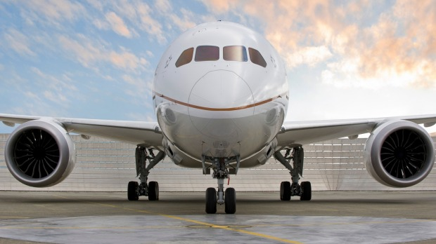 A Boeing 787-9 Dreamliner owned by United Airlines, which got a $US5 billion bailout.