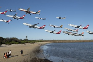 A time-lapse image of planes taking off from Sydney Airport. Traffic between Sydney and Melbourne has bounced back.