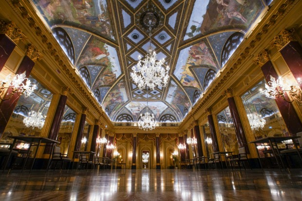 The frescoed ceilings of the Ritz Ballroom of the St. Regis Rome hotel, built in 1894.