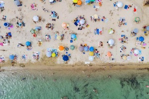 An overcrowded beach in Greece after lockdown restrictions were eased.