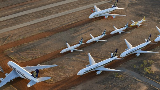 Singapore Airlines has put some of its A380s into a storage facility near Alice Springs.