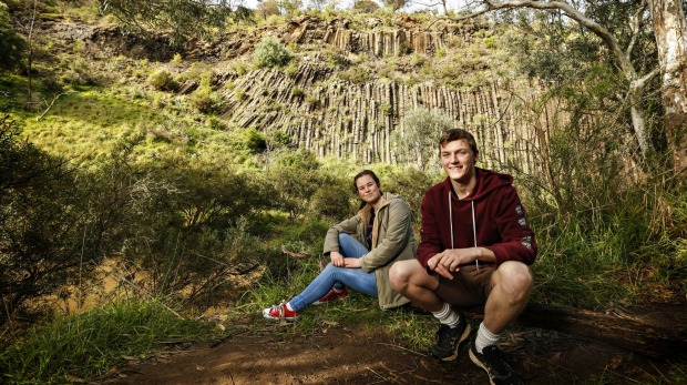 Amber Karras and Adam Lacy take in the views at the Organ Pipes National Park in Keilor, 25 kilometres north of Melbourne.