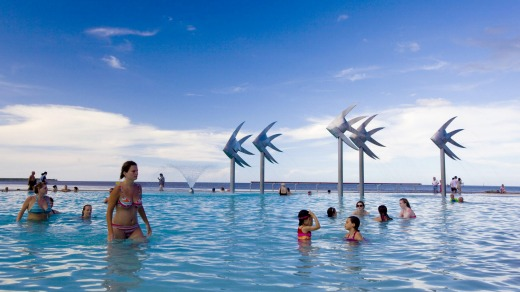 Cairns lagoon. Interstate tourists began returning to tropical north Queensland on Friday.