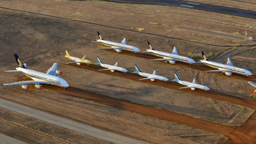 Grounded Singapore Airlines and Scoot planes at Asia Pacific Aircraft Storage near Alice Springs.