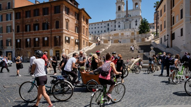 The Piazza di Spagna in Rome as lockdowns lift.