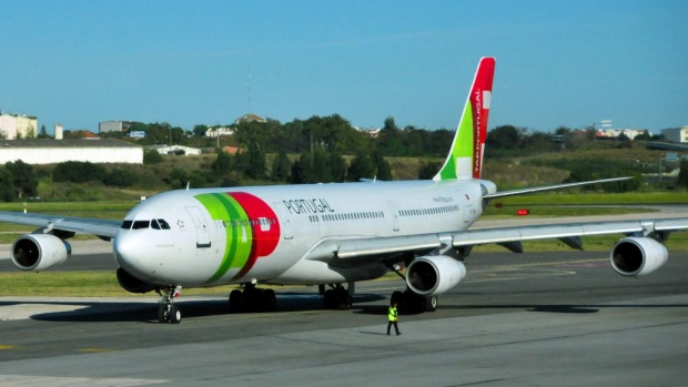 Lisbon, Portugal - October 28, 2011: TAP airlines aircraft prepares for take-off at Lisbon International Airport - ...