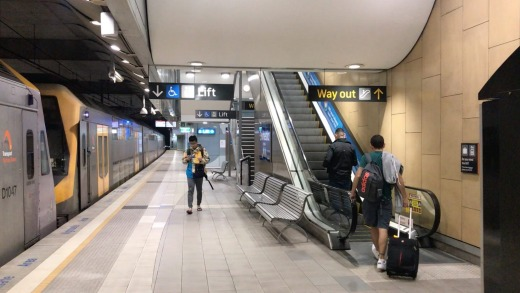 Just three other people got off the train at Sydney's domestic terminal.